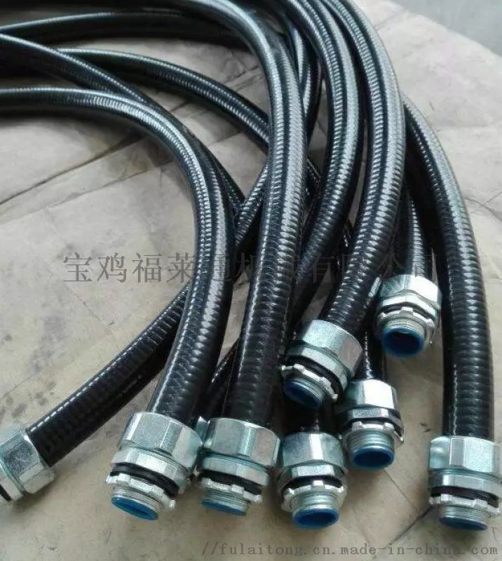 PVC披覆软管 LT黑色防水加棉线平包管