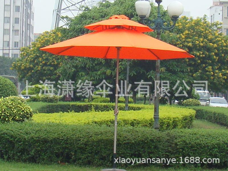 双顶庭院伞定制双层架中柱伞两层通风顶庭院伞定做厂家