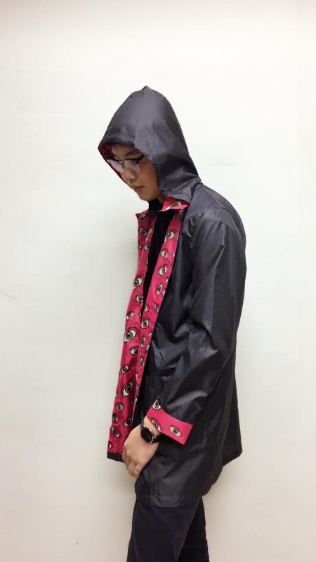 黑色徒步时尚雨衣防泼水夹克雨衣 长风衣