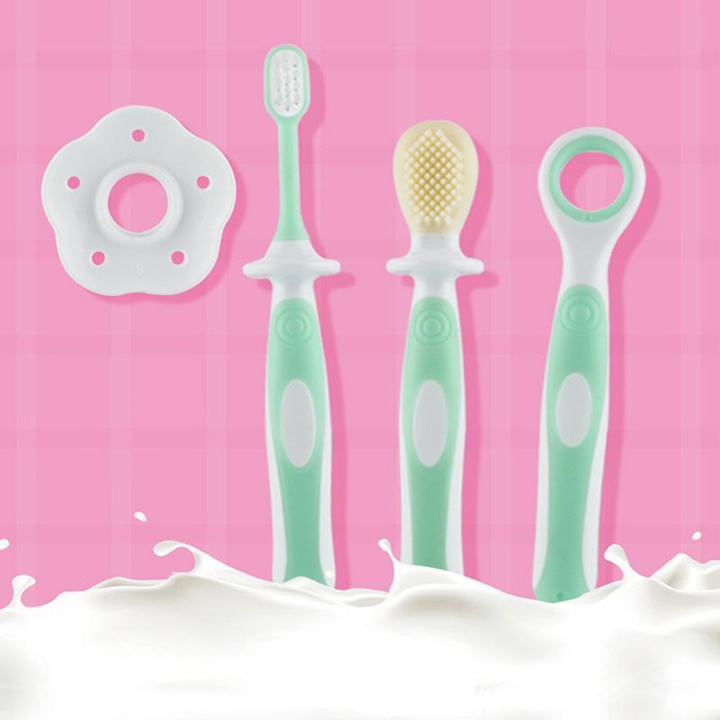 宝宝乳牙刷硅胶软毛牙刷三合一婴幼儿训练刷牙套装