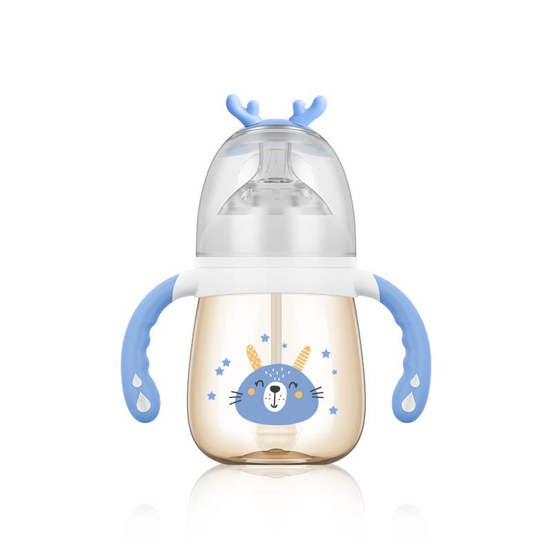 宽口PPSU奶瓶 婴儿带手柄吸管奶瓶 小灵鹿系列