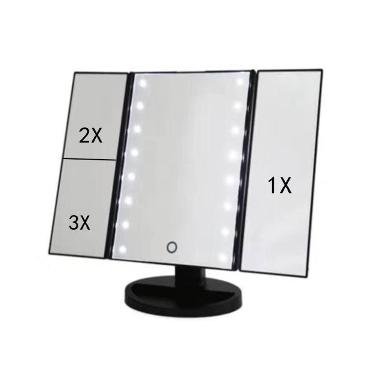 LED化妆镜 台面化妆镜 收纳镜 折叠化妆镜三合一化妆镜