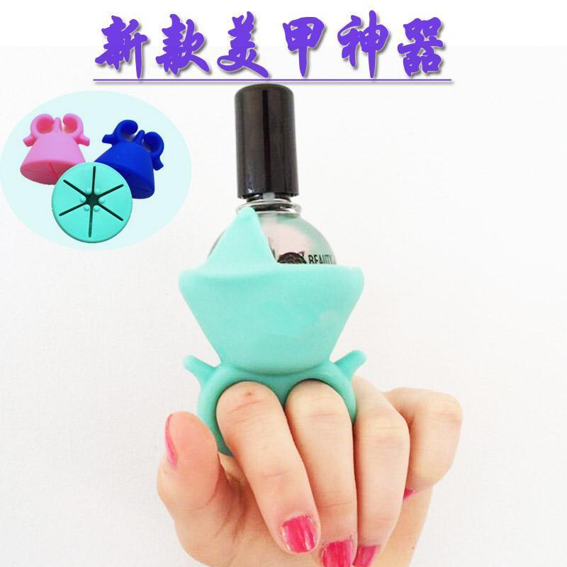 深圳厂家直销穿戴式硅胶指甲油瓶套 创意指甲油瓶架懒人  神器