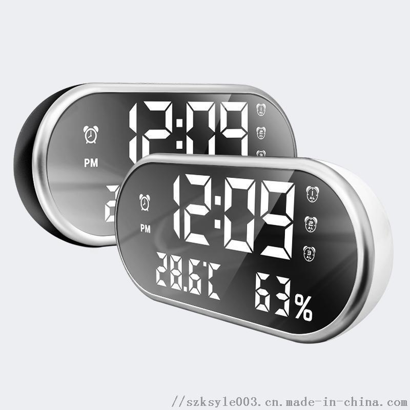 厂家LED温湿度计镜面闹钟 支持手机充电钟