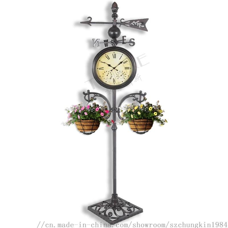 仿古花园用户外气象站金属双面时钟温湿度计落地钟