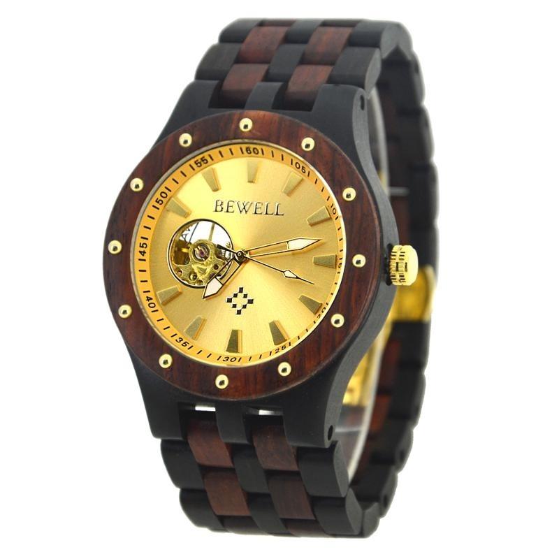 贝威尔品牌  男士手表时尚商务全自动机械套装木表