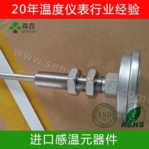 特殊轴向型双金属温度计,带2片螺母固定双金属温度计