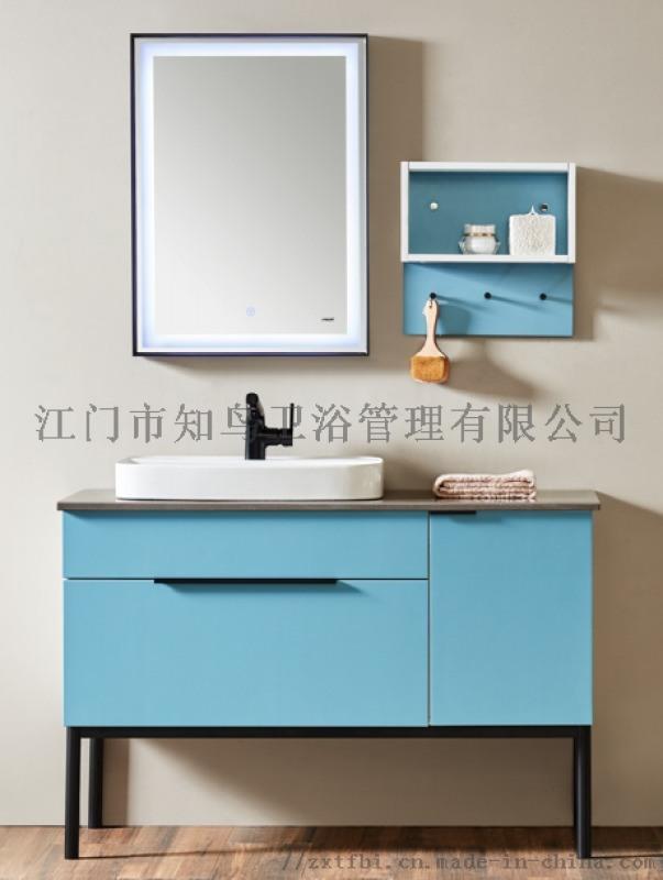 80橡木浴室柜带装饰镜