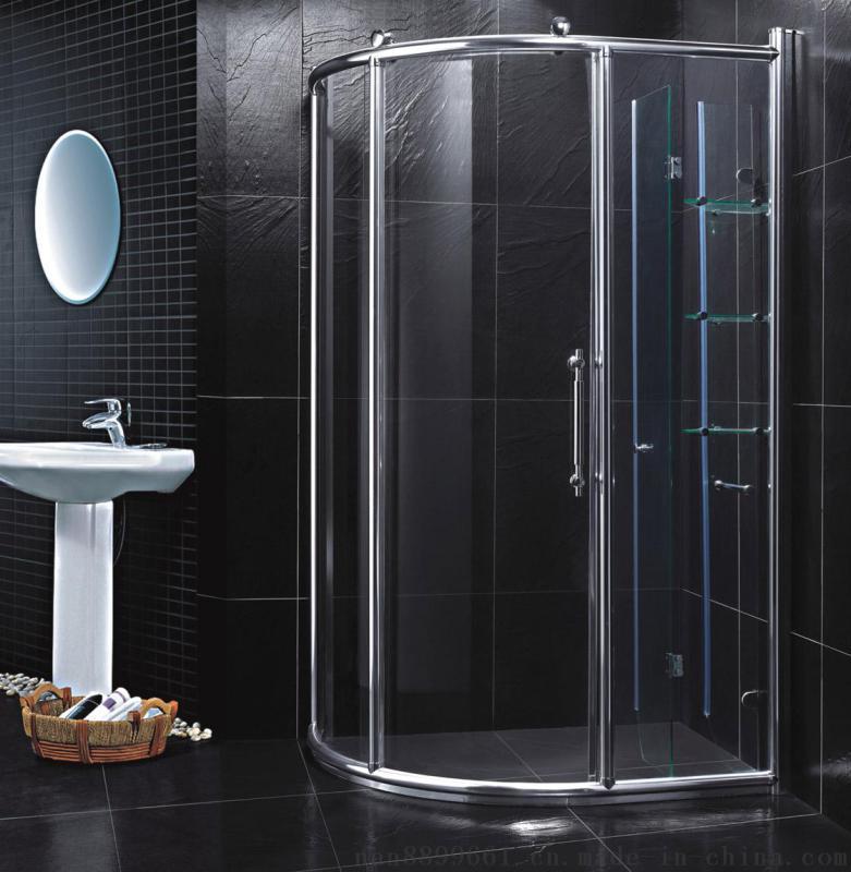 诺乐卫浴供应刀形带豪华置物架两固一活淋浴房浴室门