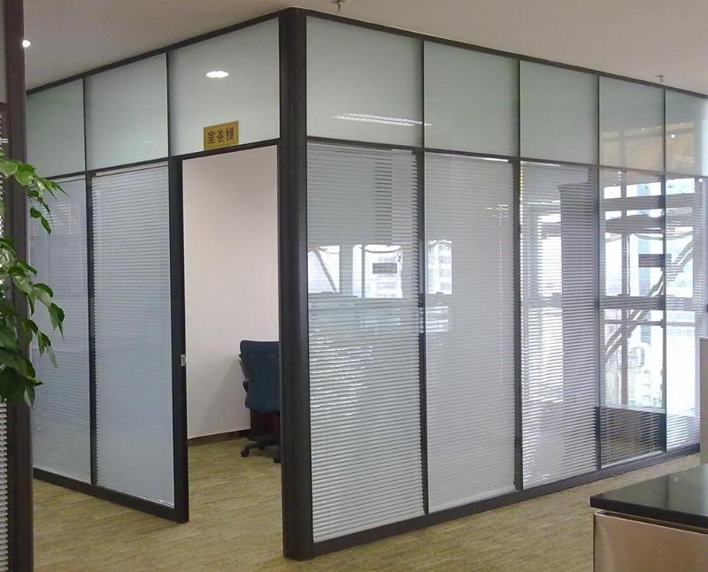 河南郑州高隔断 办公室双层钢化玻璃高隔断