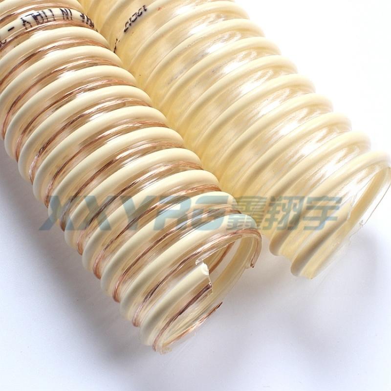 耐磨高温食品级pu塑筋增强吸尘输送软管