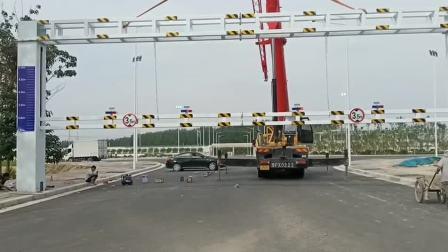 厂家定制可升降限高架 道路限高杆 液压升降限高架