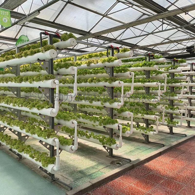 温室无土栽培 错层式PVC管道栽培 水培架