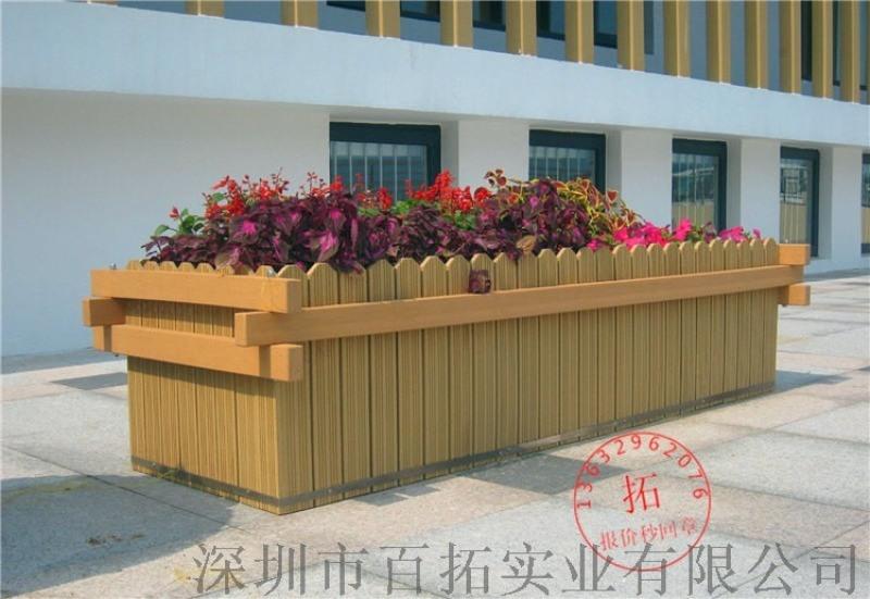户外长方形景观花箱售楼部园艺花槽花架马路防腐木花箱