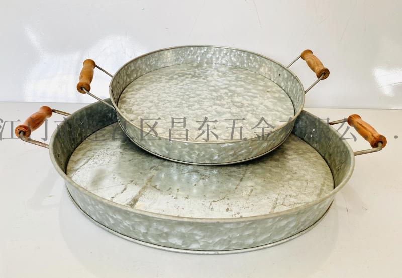 镀锌大铁盘,花园五金盘,铁皮盘,铁皮,木柄托盘