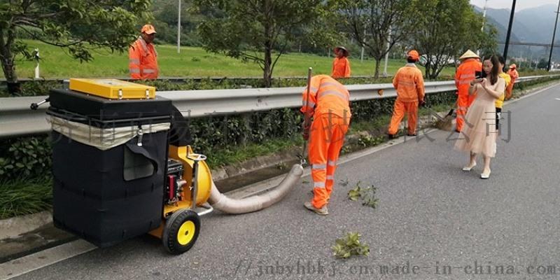 义乌公路管理处引进吸叶机用于快速路绿化带落叶清理