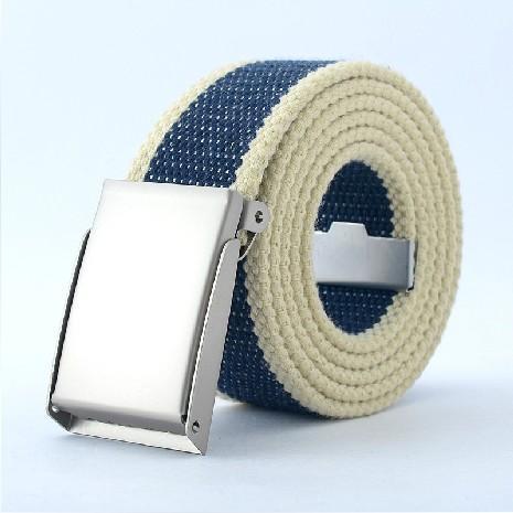 诺索夫 光板简约自动扣帆布腰带 复古男女皮带 休闲裤带多色K10