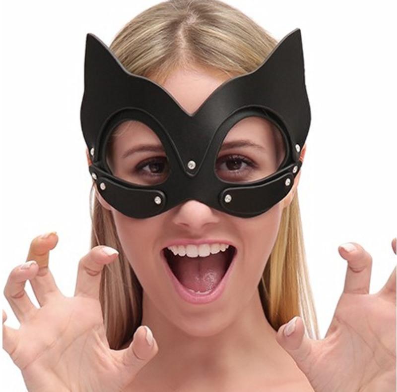 皮革男女用眼罩调情另类猫头女郎神秘面具化妆舞会面罩内衣配饰品