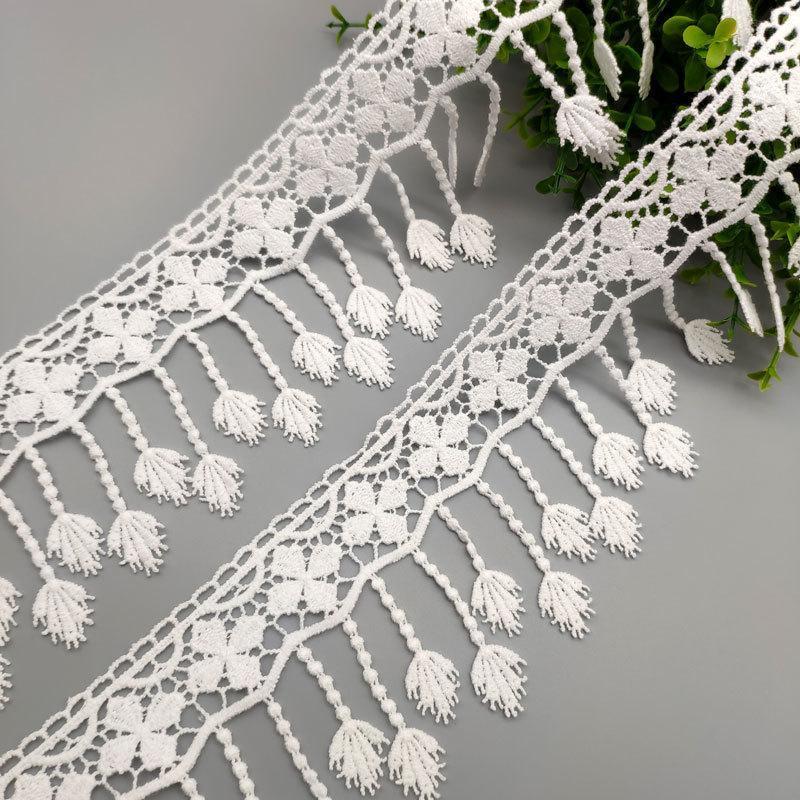 水溶花边棉线流苏花边婚纱裙摆装饰叶子吊须花边