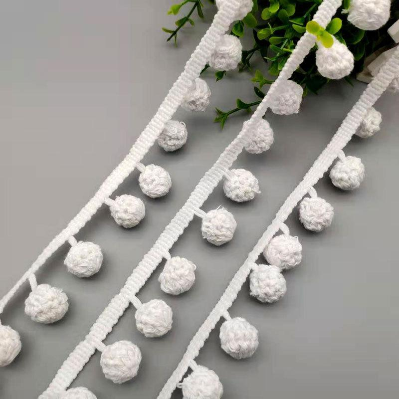 手钩吊球花边手钩包芯球花边全棉手工吊球花边桌布装饰