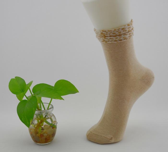 田园诗有机天然彩色棉时尚双边休闲女袜