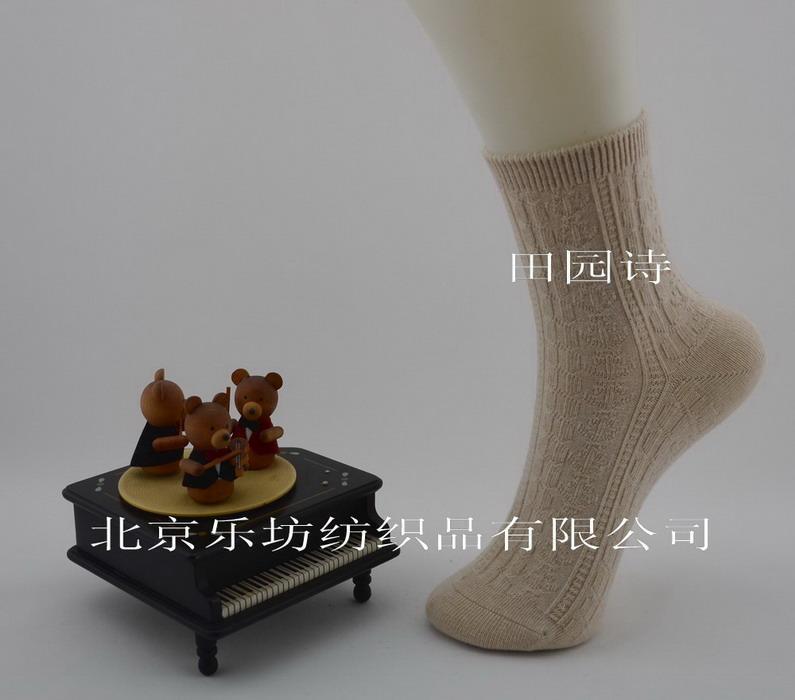 有机棉拧花女袜